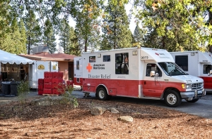 Red Cross Emergency Response Vehicles deliver supplies to service center in Weed