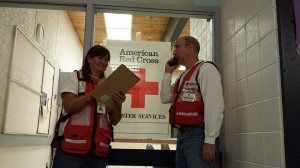 Volunteers Jenny Anderson and John Gatofalos helped staff a temporary King Fire evacuation center in South Lake Tahoe.