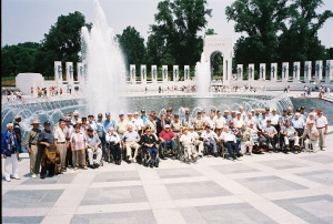 In 2004, Freedom Flight II brought more than 100 local WWII veterans to the WWII Memorial in Washington DC.