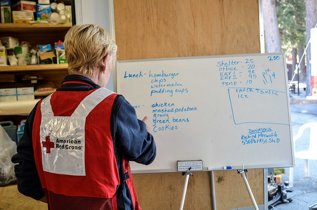 Carrie checks the latest info before heading out on the next ERV delivery run.