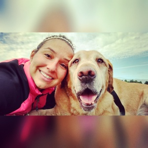 12-year-old yellow lab Woody Wyatt and his adoptive mom Lilly.