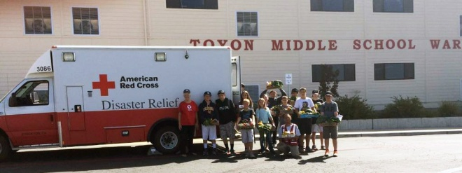 Students from Toyon Middle School in Valley Springs donated their harvest to fire victims.
