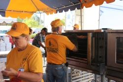 SBC volunteers prepare lunch for delivery in Mountain Ranch, California.
