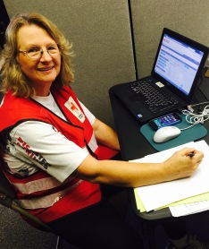 Kathy doing casework at the Red Cross client assistance center